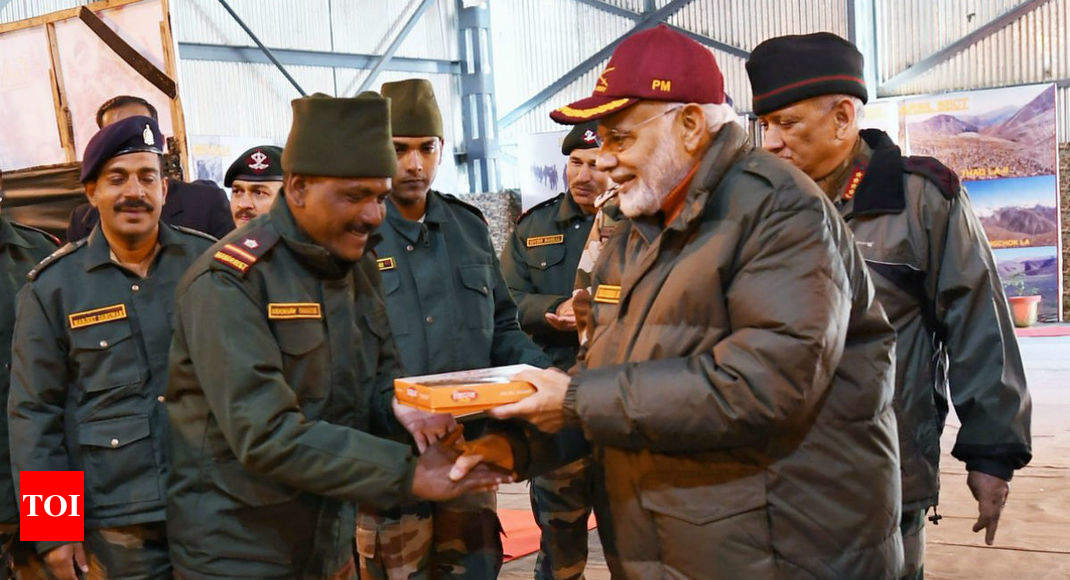 PM Modi celebrates Diwali with jawans in Uttarakhand's Harsil - Times of India thumbnail