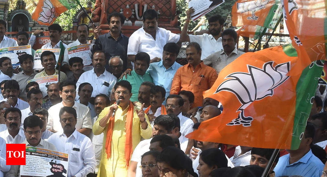 BJP stages protests ahead of Tipu Jayanti; security tightened in Karnataka - Times of India
