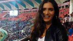 Vartika Singh celebrates India's victory over West Indies in T20 match