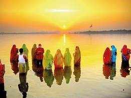 Hussain Sagar dazzles in colours of Chhath Puja
