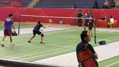 International badminton players warm-up before the championship in Lucknow