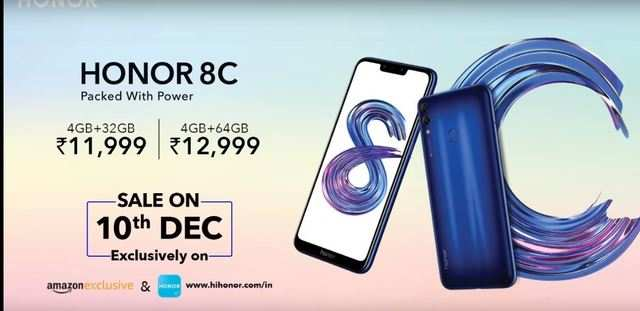 Honor 8C with 4000mAh battery launched at Rs 11,999 onwards