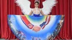 Beauty queen's national costume honour Donald Trump-Kim Jong Un historic handshake