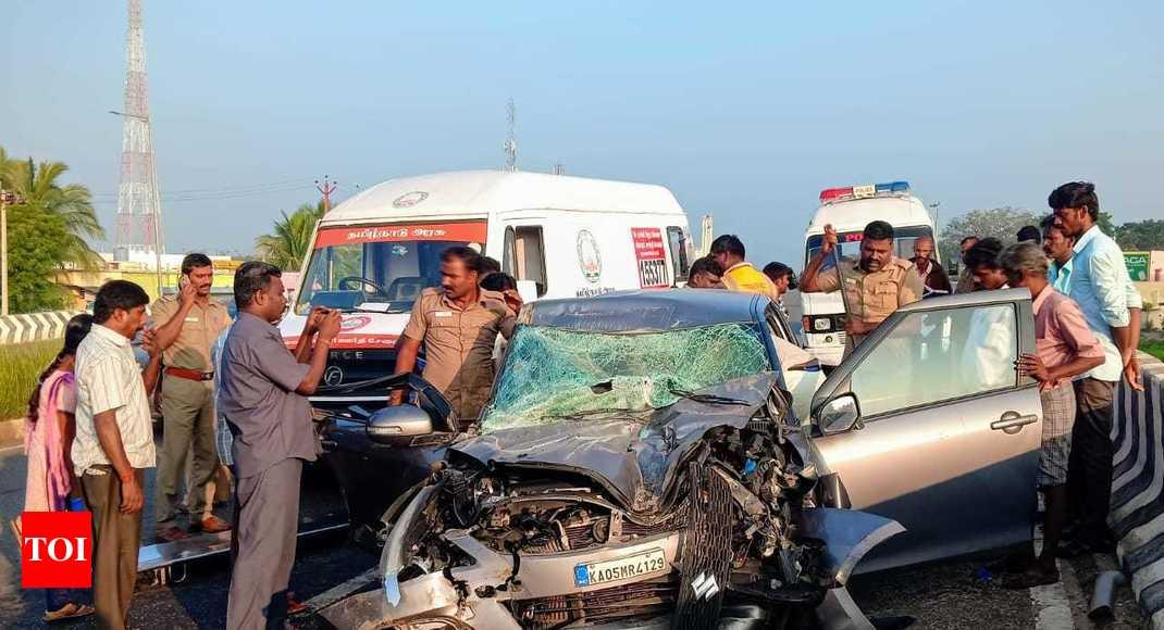 Four from Bengaluru die as car rams truck near Dindigul in