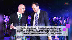 Scottish minister welcomed in Delhi with kilts, bagpipes
