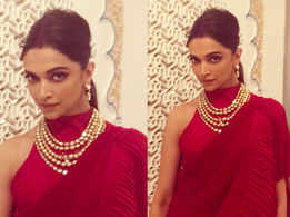 Deepika wows in a red sari at Isha Ambani's Sangeet