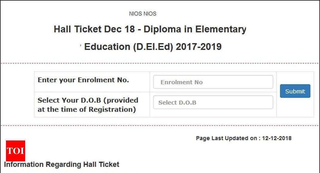 NIOS releases Hall Tickets for D El Ed  exam @ nios ac in