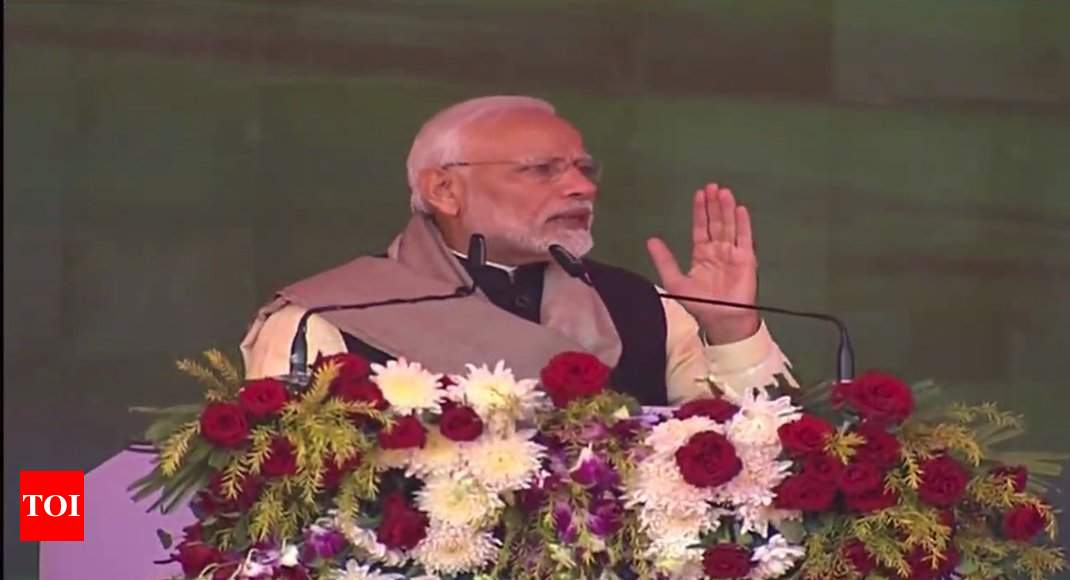 PM Modi launches projects worth Rs 1,100cr, slams Congress in Sonia's turf Rae Bareli - Times of India ►