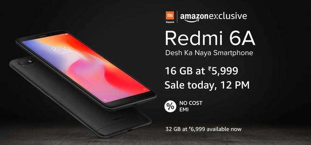 608730d2a4a Xiaomi Redmi 6A s flash sale at 12pm today on Amazon and Mi.com  Price and  offers