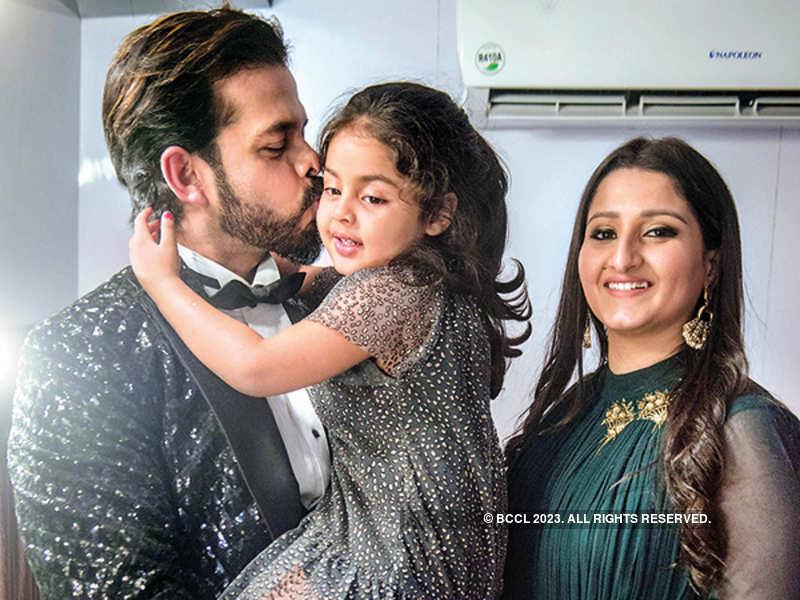 S Sreesanth with his wife Bhuvneshwari Kumari and daughter Sanvika (Tejas Kudtarkar)