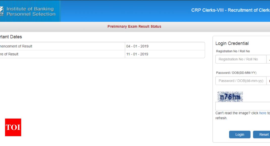 ibps clerk result: IBPS Clerk Prelims Result 2018 declared