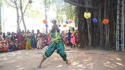 Pongal celebration cultural activity Silambattam by Sukanya of MGR Janaki college