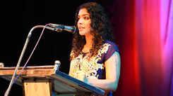 Rima Kallingal gives a speech at Soorya Festival