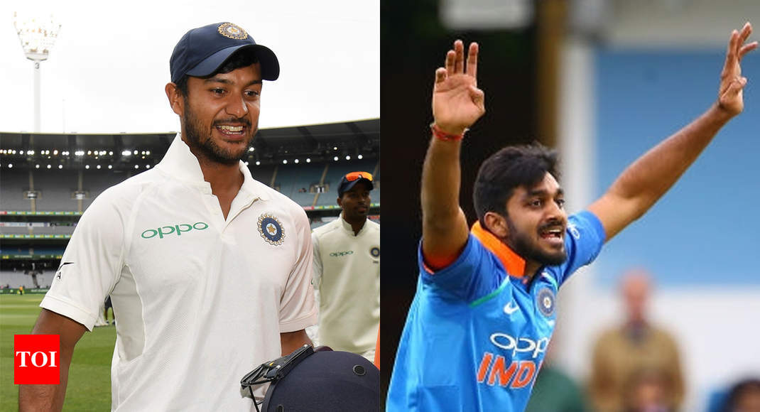 India vs Australia: Mayank Agarwal, Vijay Shankar to replace KL Rahul and Hardik Pandya - Times of India