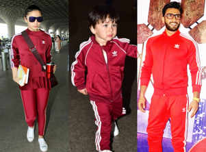 You can't miss Taimur's tracksuit look