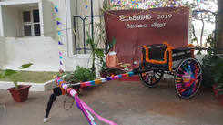 PSG college Students decorated campus and celebrated Pongal