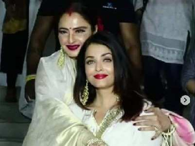 Watch: Rekha and Aishwarya exchange hugs and kisses
