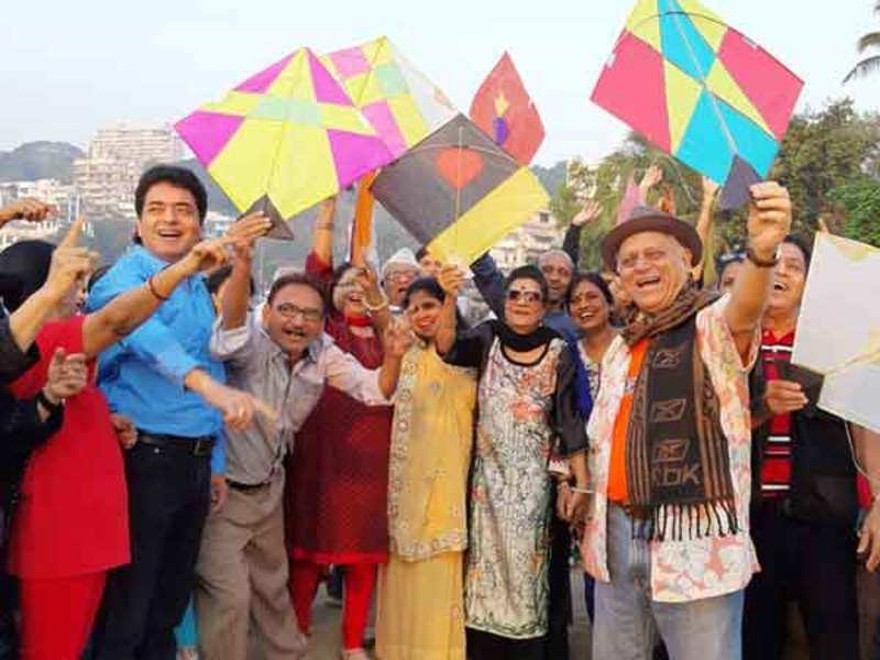 City laughter group celebrated Makar Sankranti with kites and fun   Events  Movie News - Times of India