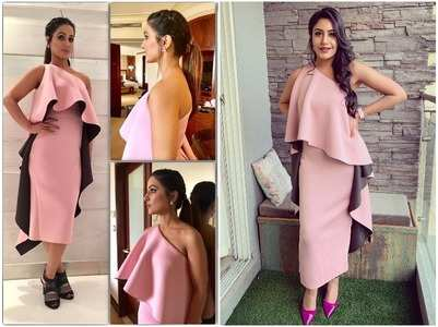 Hina or Surbhi: Who rocked the pink off-shoulder dress?