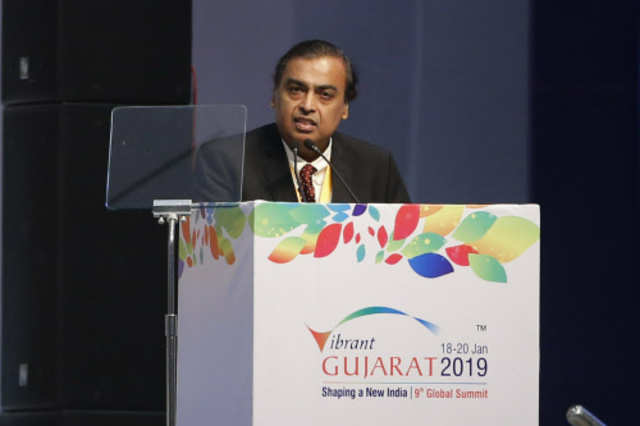 Mukesh Ambani speaks at the 9th Vibrant Gujarat Global Summit (VGGS) in Gandhinagar (AP photo)