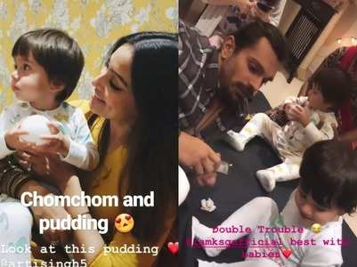 Bipasha-Karan enjoy with Krushna's twins