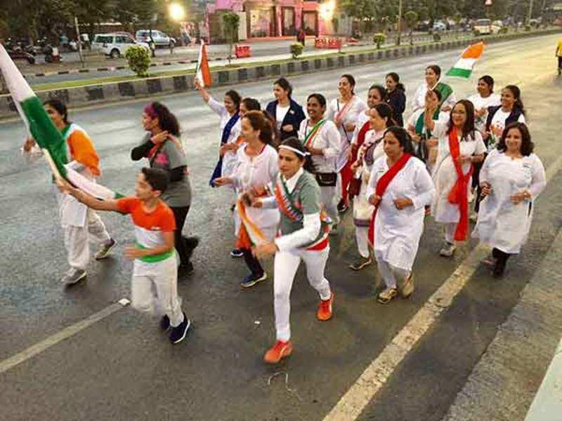Mumbai women runners during their special run at Marine Drive on Republic Day