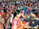 Female police officers' carry out haldi kumkum ceremony