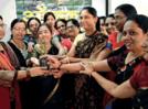 Ladies celebrated haldikum with tulsi sapling distribution