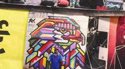 Admiring street art at India Art Fair
