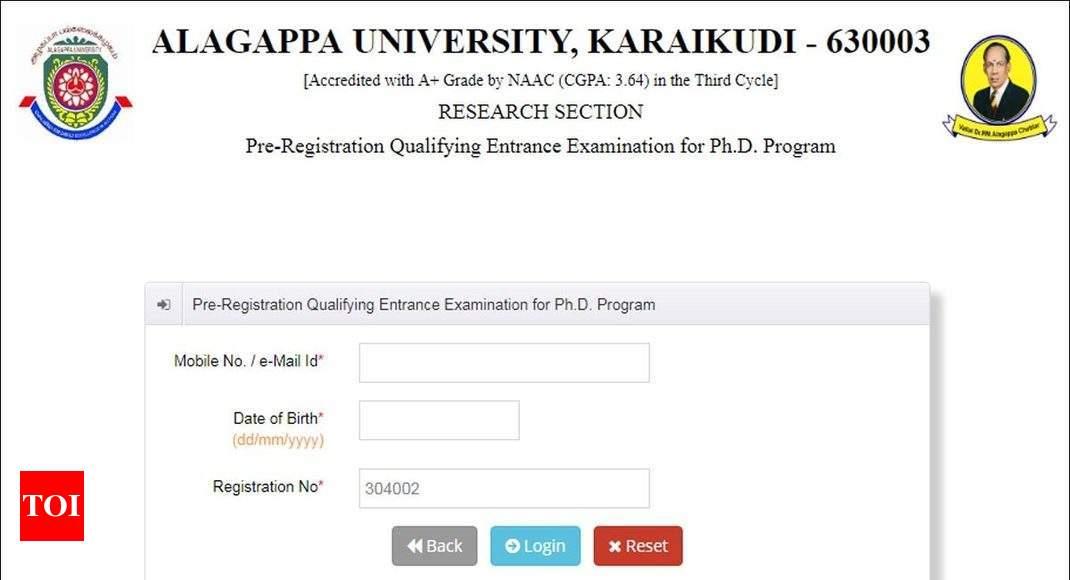 Alagappa University declares Ph D Entrance Exam Result