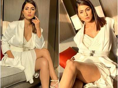 Hina Khan dazzles in white at an event
