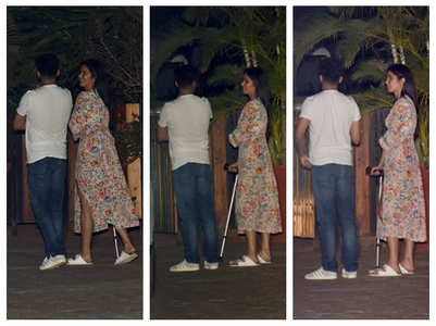 Katrina Kaif spotted with a walking aid