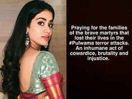 Janhvi Kapoor calls Pulwama terror attack an inhumane act of cowardice, brutality and injustice