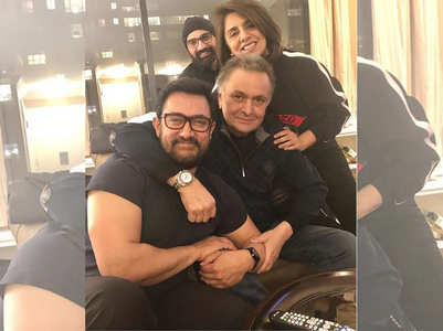 Photo: Aamir visits Rishi and Neetu in NY