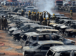 Fire guts 300 cars hour after Surya Kiran lifted spirits with return