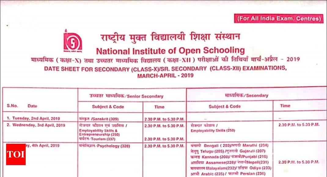NIOS date sheet: NIOS Class 10th & 12th date sheet for 2019