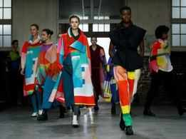 Issey Miyake fills school gym with kaleidoscope of colours