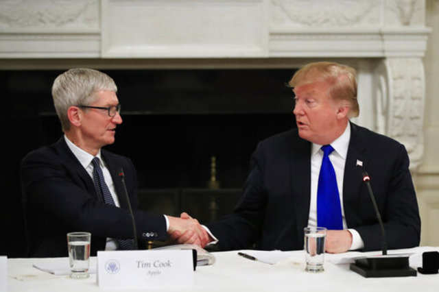 President Donald Trump shakes hands with Apple Inc. CEO Tim Cook during the American Workforce Policy Advisory Board's first meeting in the State Dining Room of the White House in Washington, Wednesday, March 6, 2019.Photo/Manuel Balce Ceneta)
