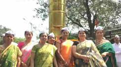 Mumbai Dabbawalas' wives inaugurate a 5-foot tall dabba installation on Women's Day