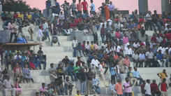 CCFC fans cheering the team against Minerva FC