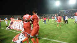 CCFC players celebrate after winning their first I-League title