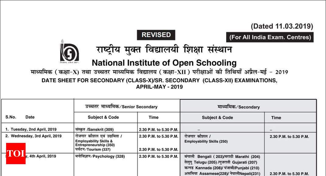 NIOS revises 10th & 12th April 2019 exam dates