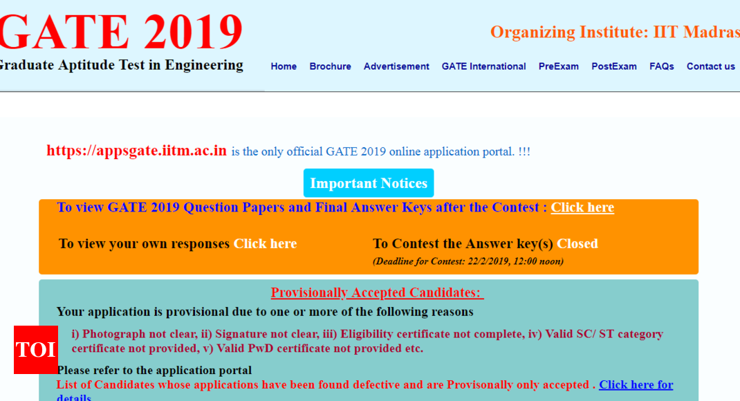 Gate 2019 Result News: GATE 2019 Final Answer Key Released @ Gate.iitm.ac.in