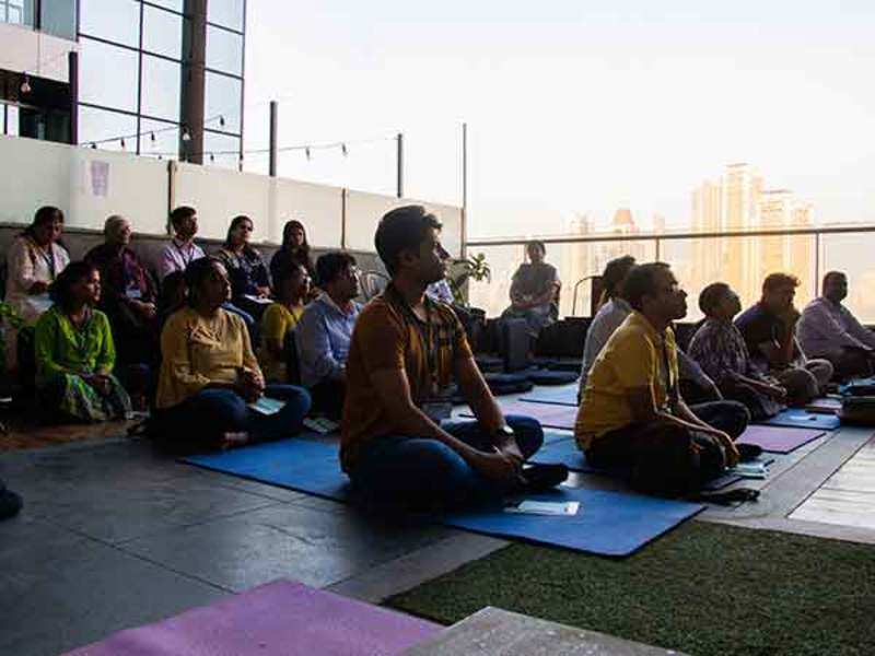 Participants during the burnout to bounce meditation event