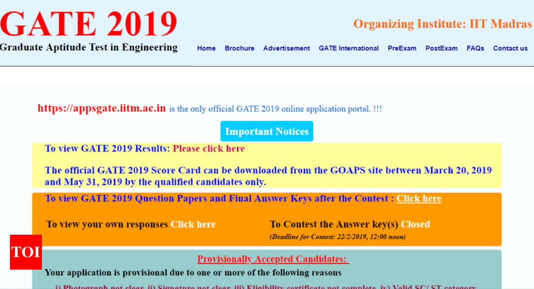 IIT Madras announced GATE 2019 results @gate.iitm.ac.in; here's direct link