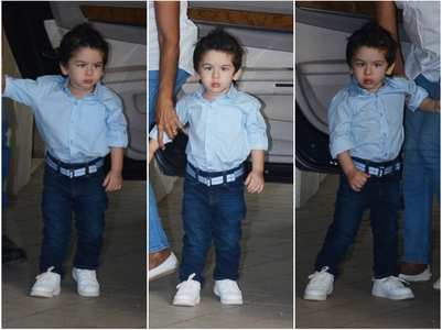 Pics: Taimur flaunts his spiked up hair look