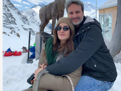 Raveena enjoys a snowy vacay with husband