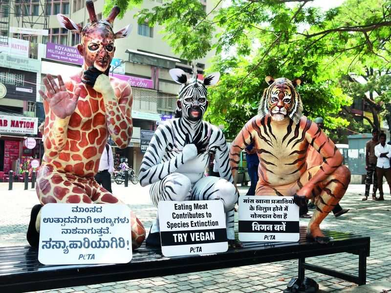 Go vegan, say body-painted animal activists in Bengaluru