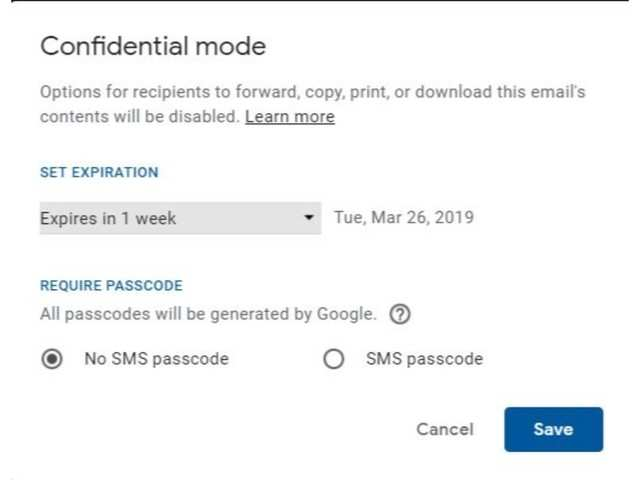 How to send emails using Gmail's Confidential Mode