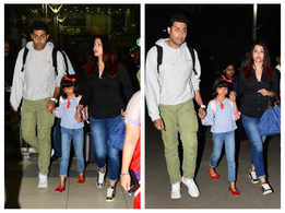 Photos: Aishwarya Rai and Abhishek Bachchan return from their Goa vacation with daughter Aaradhya